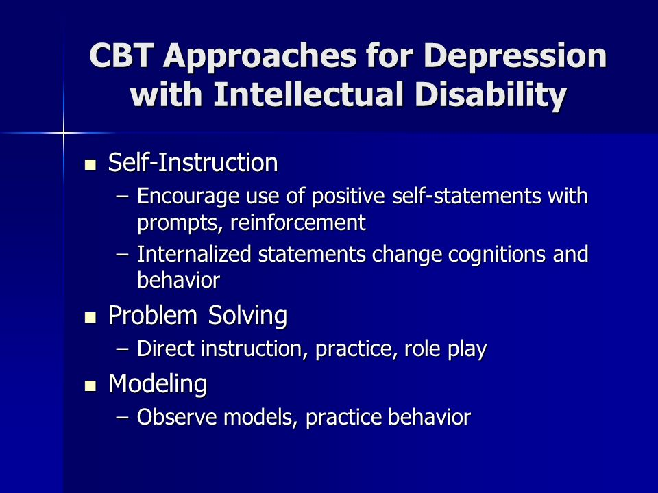 CBT Approaches for Depression with Intellectual Disability