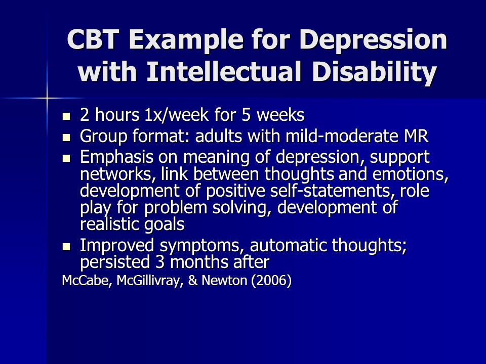 CBT Example for Depression with Intellectual Disability
