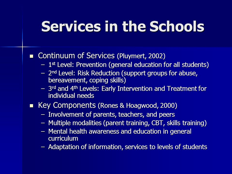 Services in the Schools