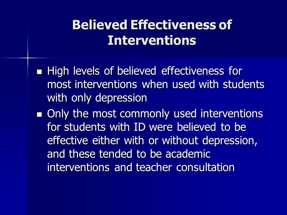 Believed Effectiveness of Interventions