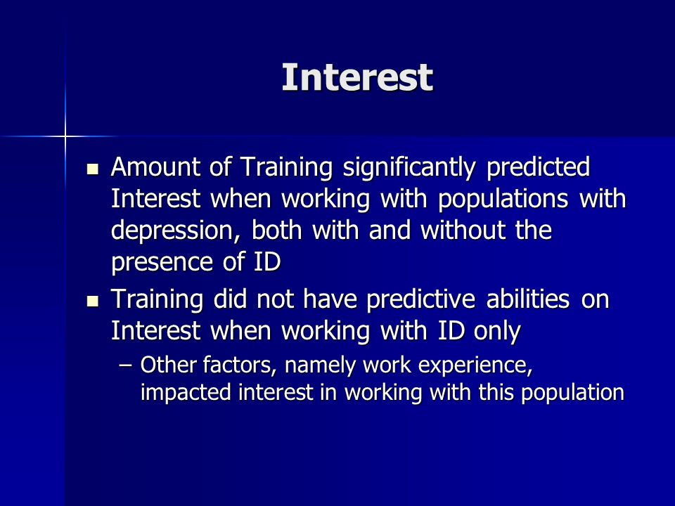 Interest Amount of Training significantly predicted Interest when working with populations with depression, both with and without the presence of ID.