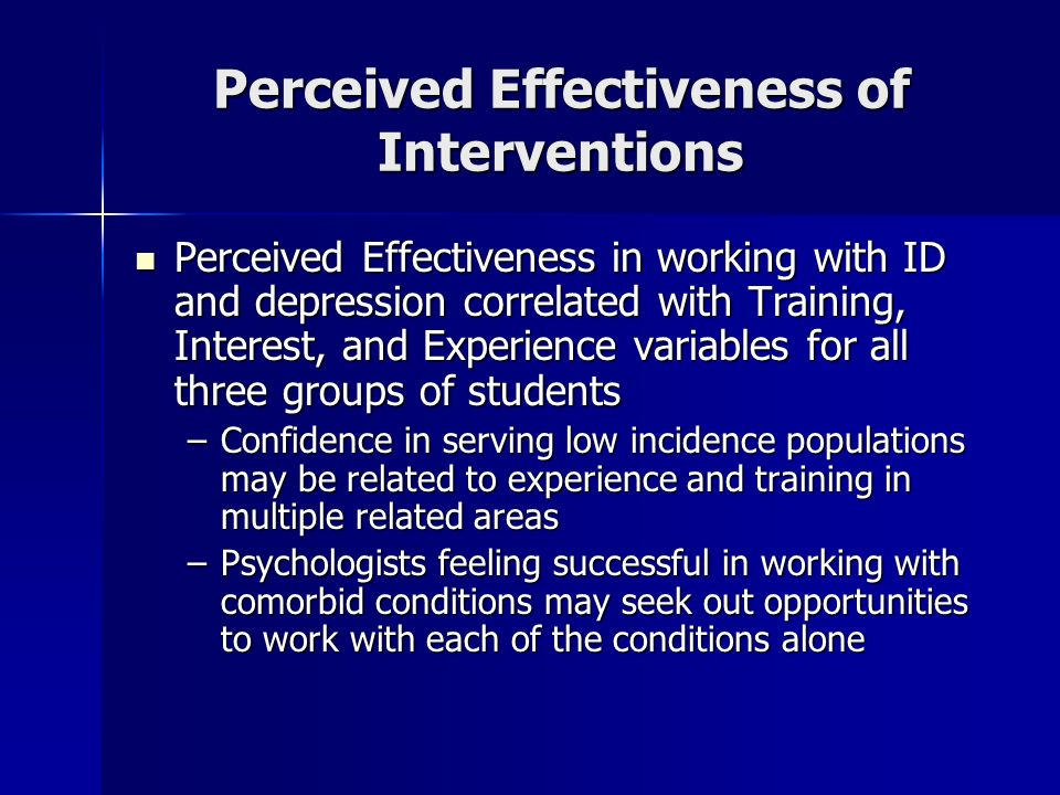 Perceived Effectiveness of Interventions