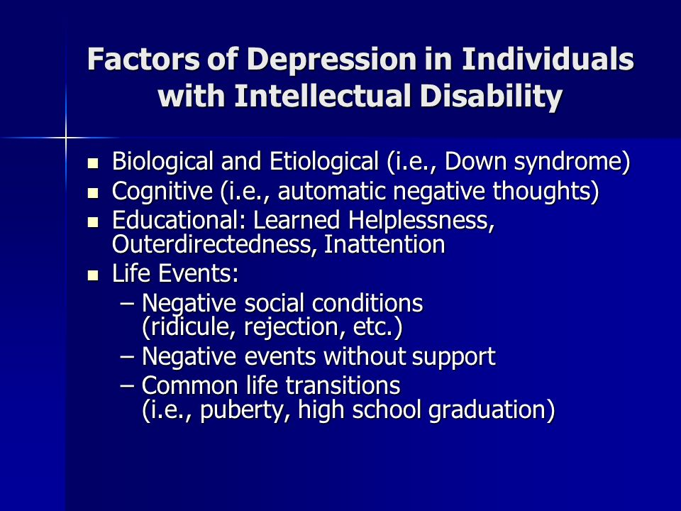Factors of Depression in Individuals with Intellectual Disability