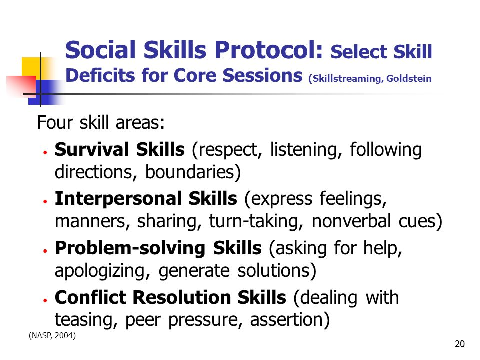 Social Skills Protocol: Select Skill Deficits for Core Sessions (Skillstreaming, Goldstein