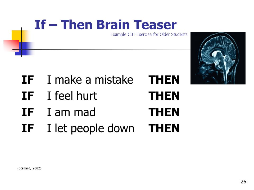 If – Then Brain Teaser Example CBT Exercise for Older Students