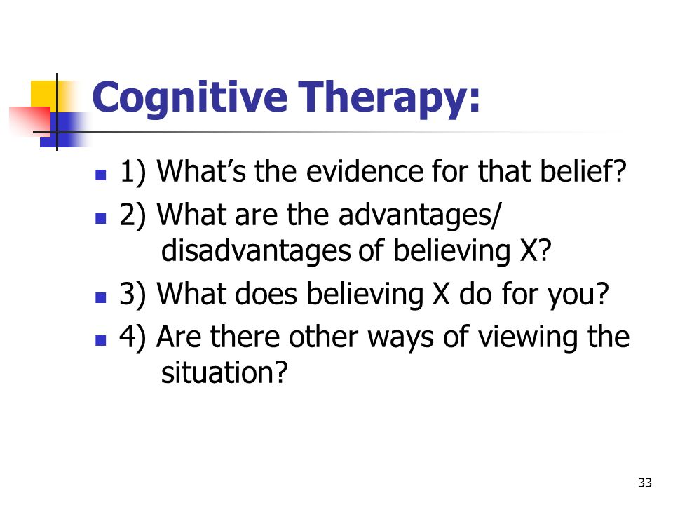 Cognitive Therapy: 1) What's the evidence for that belief