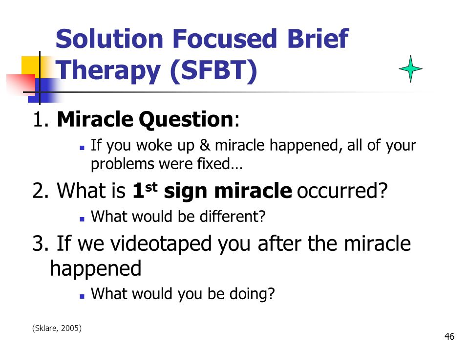 solution focused brief therapy an introduction Introduction solution-focused brief therapy (sfbt) is an approach in counselling, psychotherapy and social work that aims to help clients to generate solutions its ideas have also been used in clinical supervision, coaching, education and management.