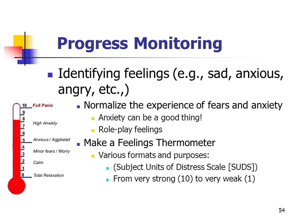 Progress Monitoring Identifying feelings (e.g., sad, anxious, angry, etc.,) Normalize the experience of fears and anxiety.