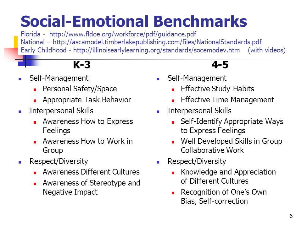 Social-Emotional Benchmarks Florida - http://www. fldoe