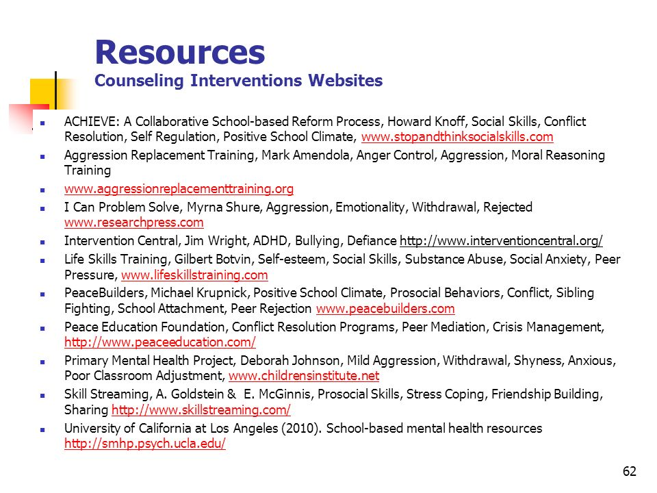Resources Counseling Interventions Websites
