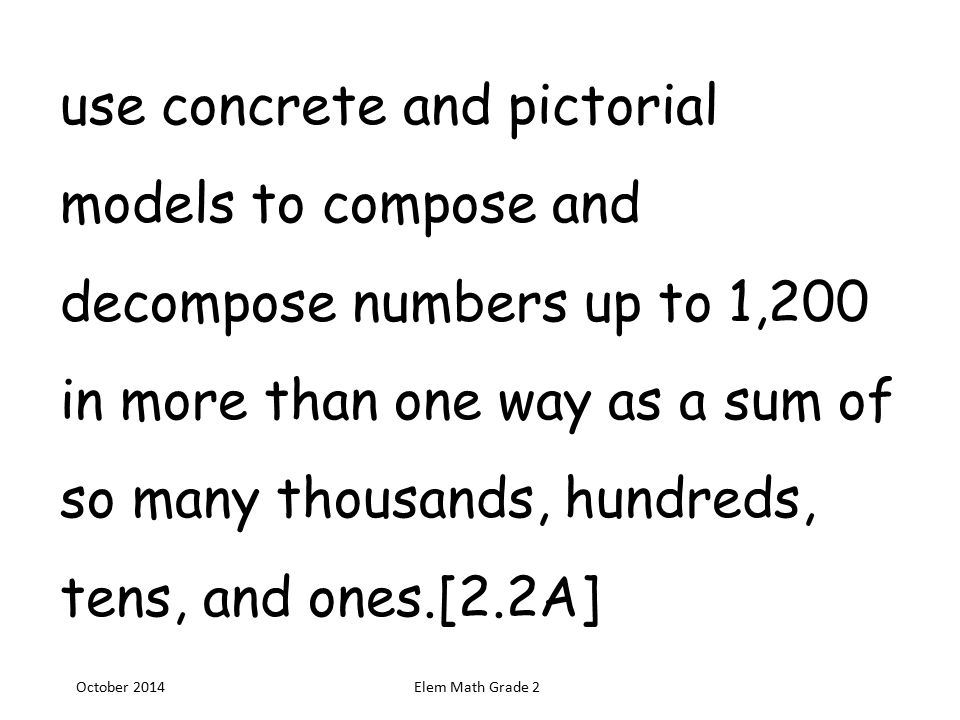 Use Concrete And Pictorial Models To Compose And Decompose