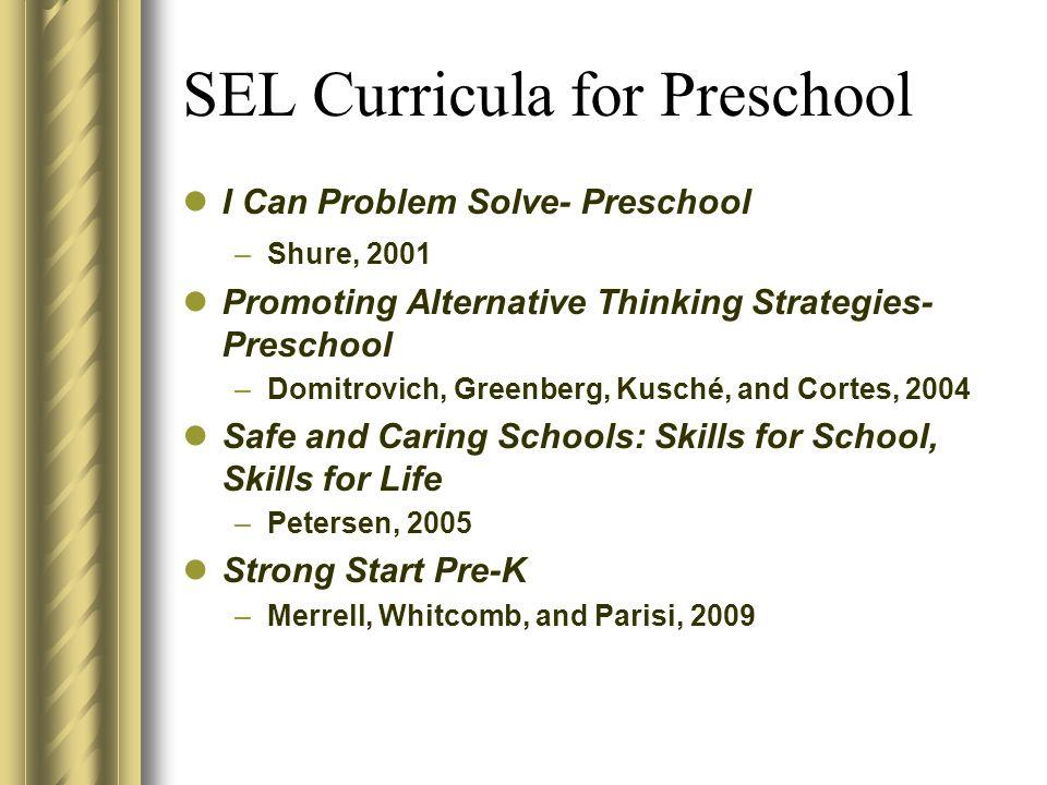 SEL Curricula for Preschool