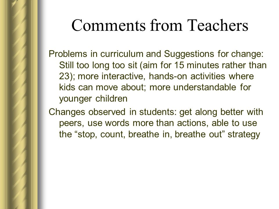 Comments from Teachers