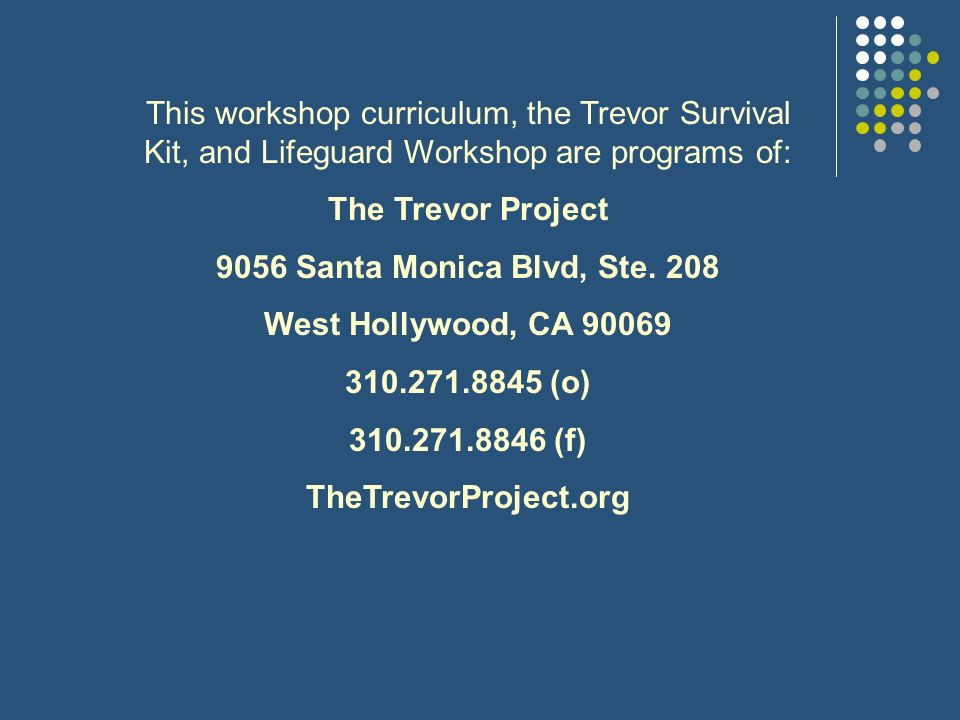 This workshop curriculum, the Trevor Survival Kit, and Lifeguard Workshop are programs of: