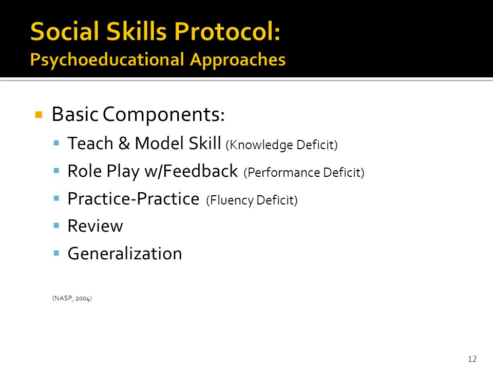 Social Skills Protocol: Psychoeducational Approaches