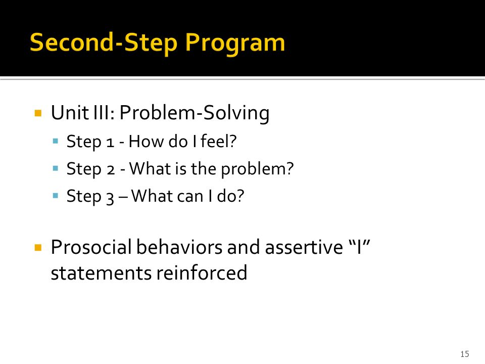 Second-Step Program Unit III: Problem-Solving