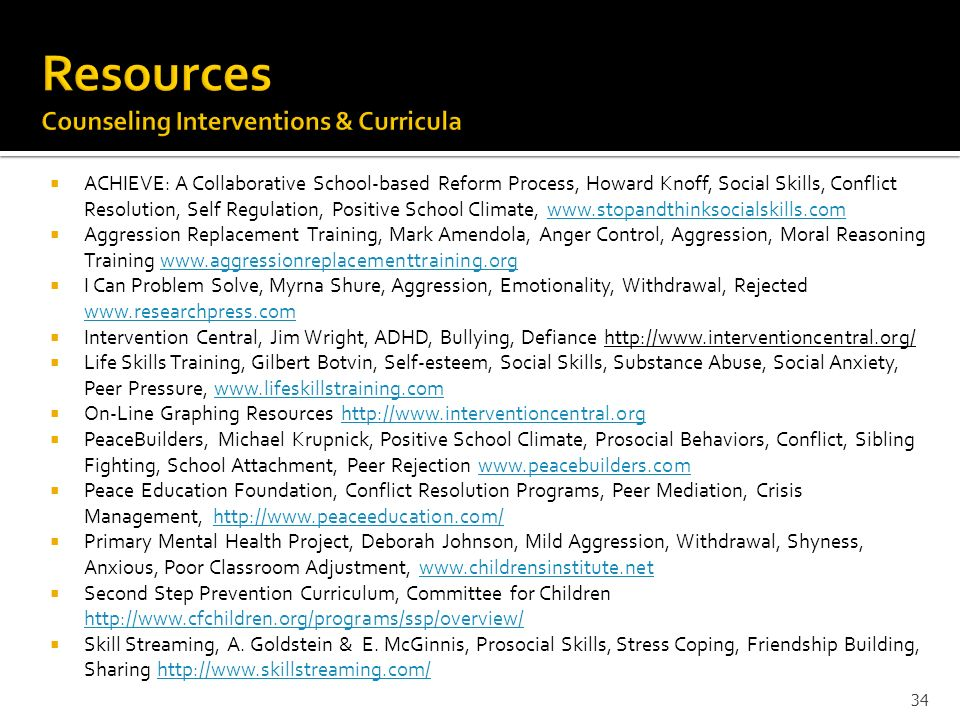 Resources Counseling Interventions & Curricula