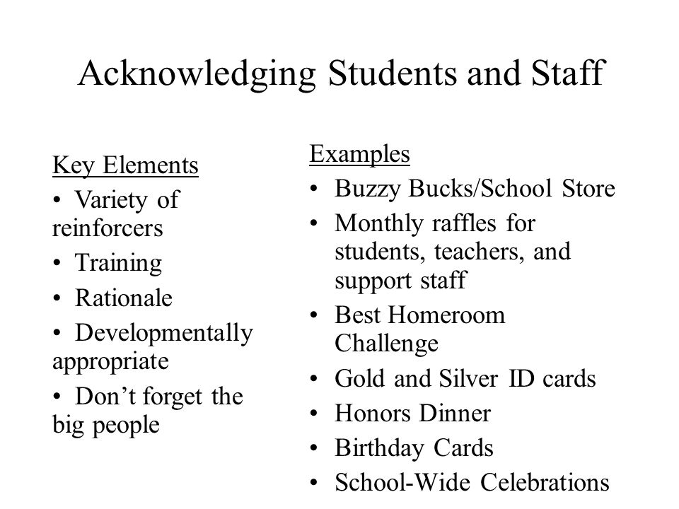 Acknowledging Students and Staff