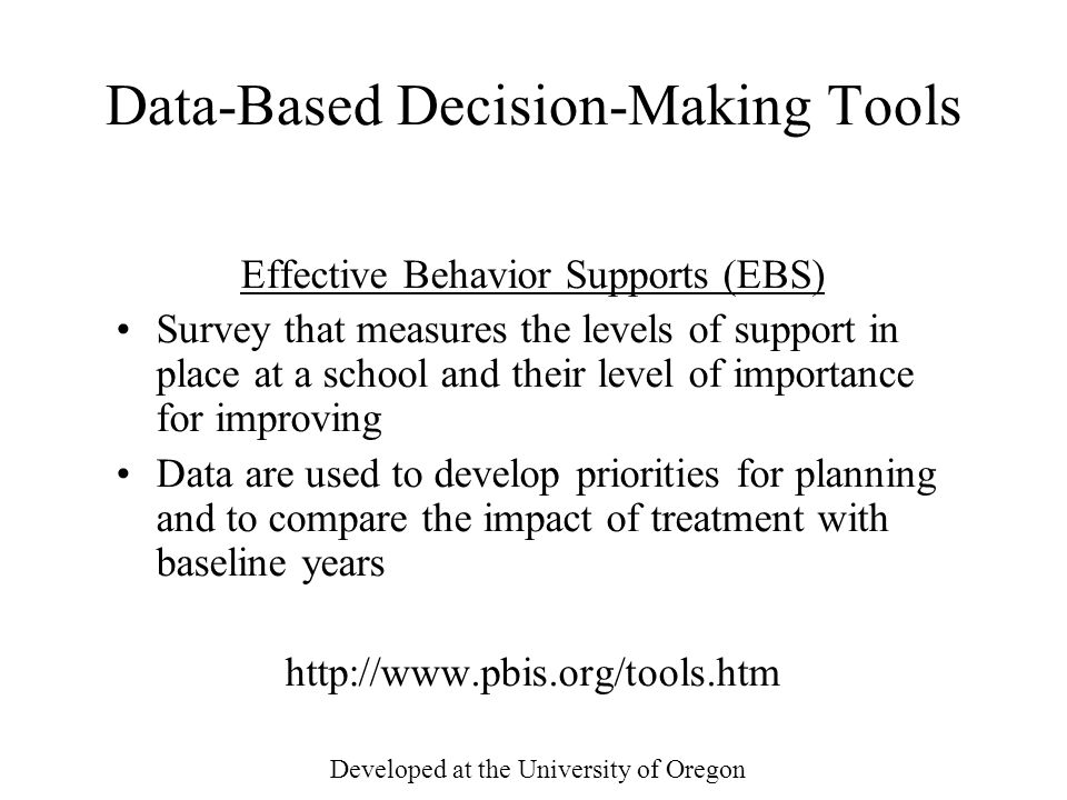Data-Based Decision-Making Tools