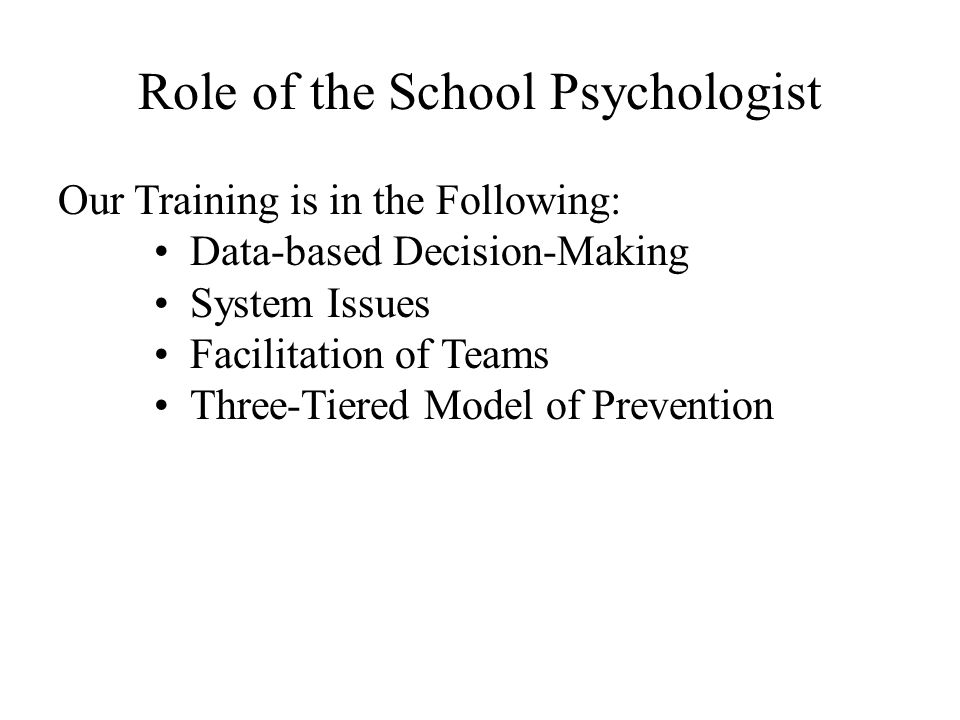 Role of the School Psychologist