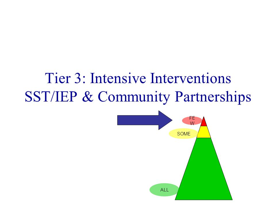 Tier 3: Intensive Interventions SST/IEP & Community Partnerships