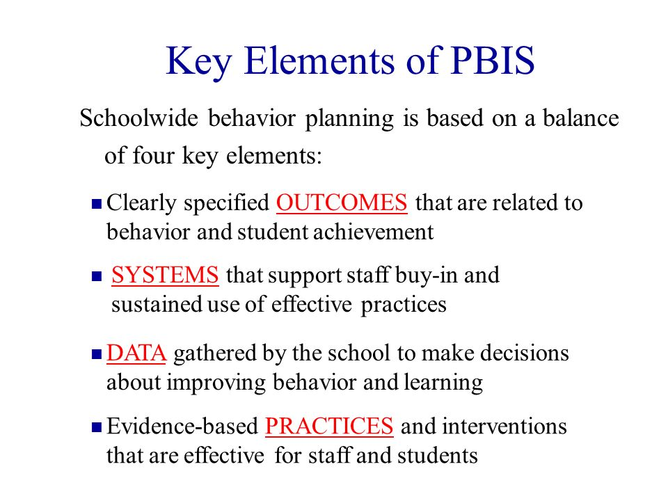 Key Elements of PBIS Schoolwide behavior planning is based on a balance of four key elements: