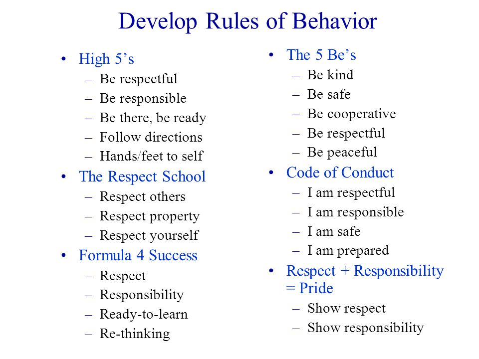 Develop Rules of Behavior
