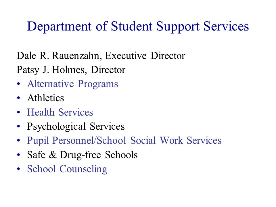 Department of Student Support Services