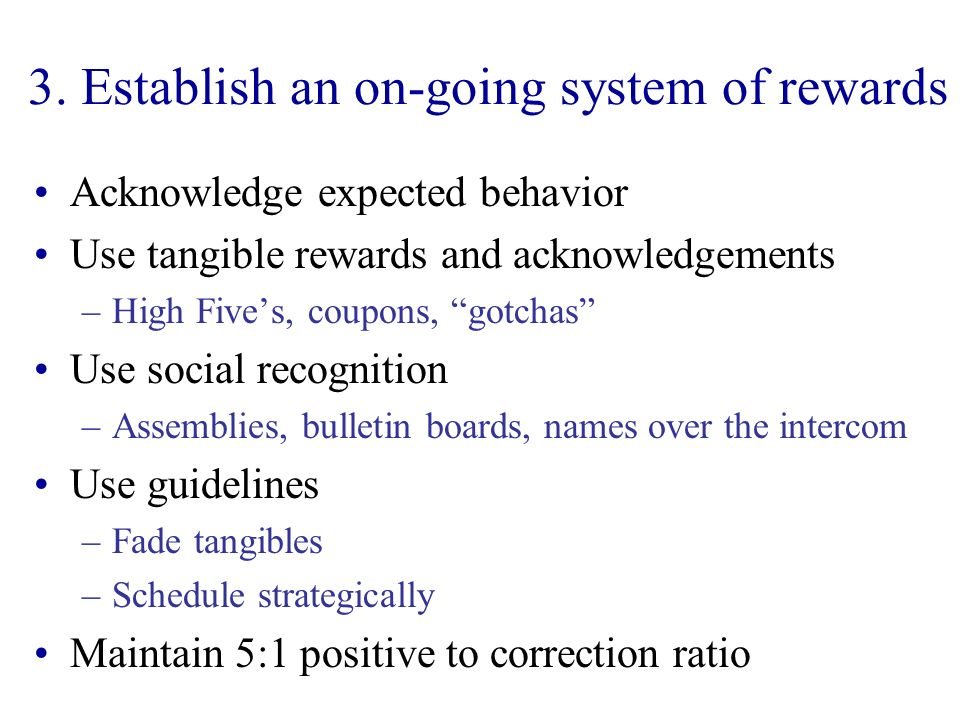3. Establish an on-going system of rewards
