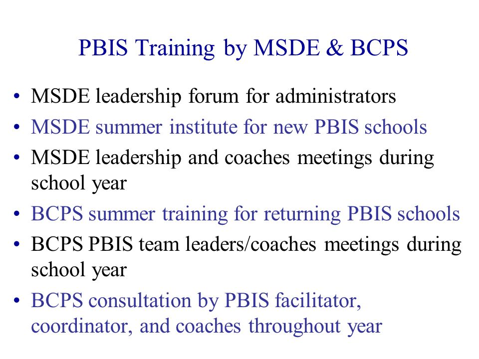 PBIS Training by MSDE & BCPS