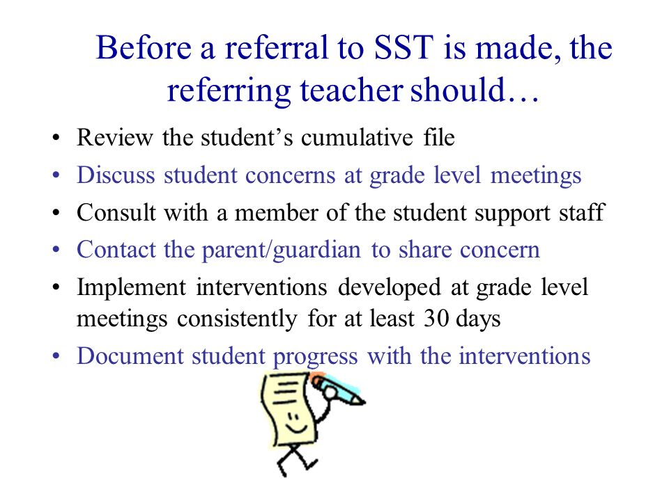 Before a referral to SST is made, the referring teacher should…