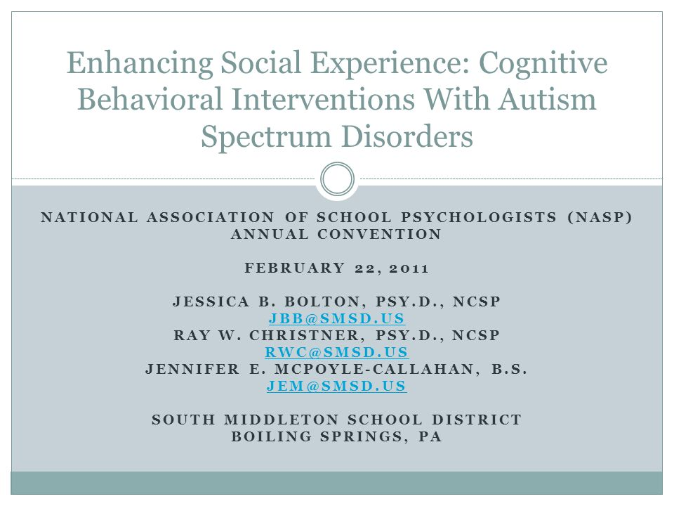 Enhancing Social Experience: Cognitive Behavioral Interventions With Autism Spectrum Disorders