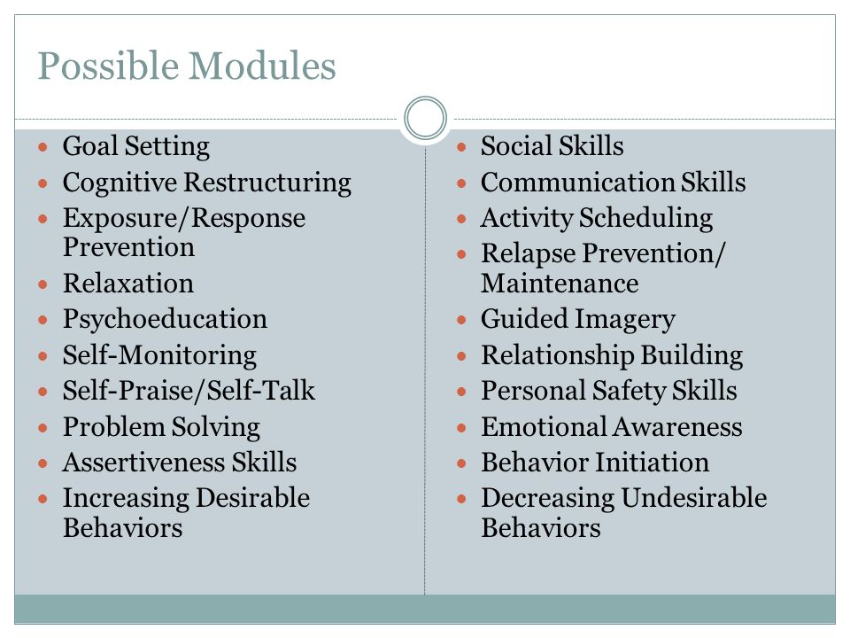 Possible Modules Goal Setting Cognitive Restructuring