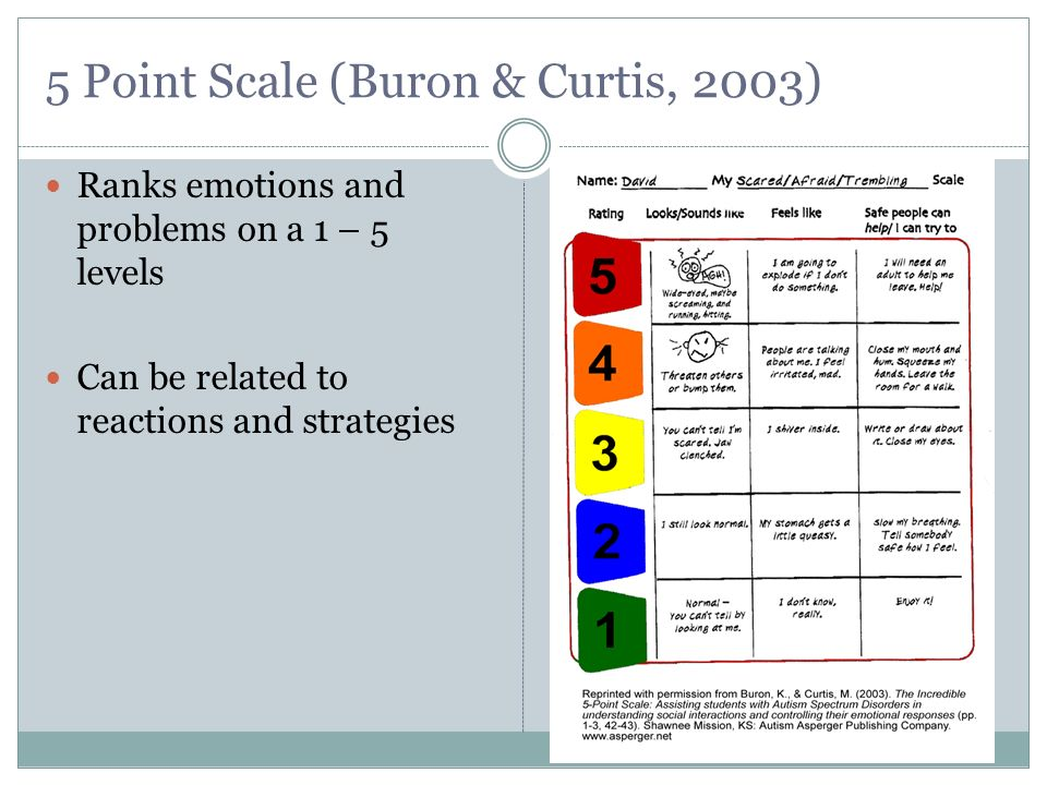 5 Point Scale (Buron & Curtis, 2003)