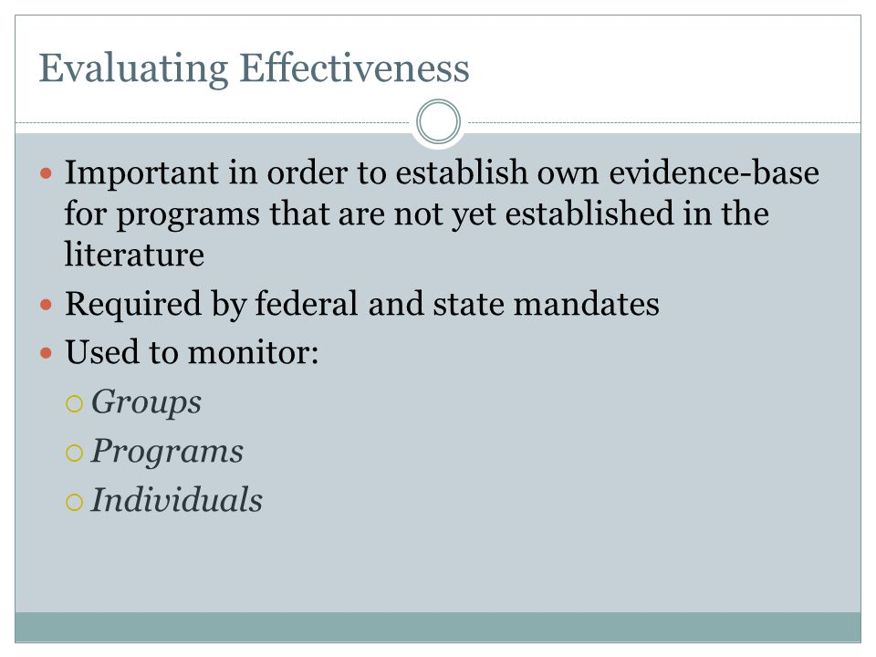 Evaluating Effectiveness