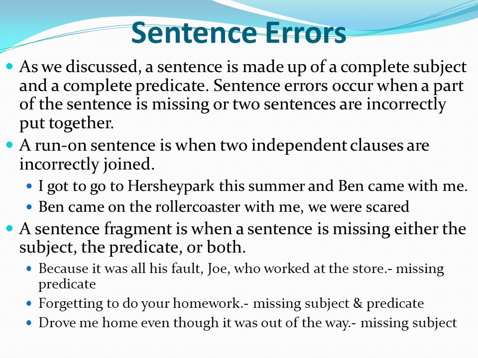 The sentence parts of a sentence sentence errors for Sentence of floor