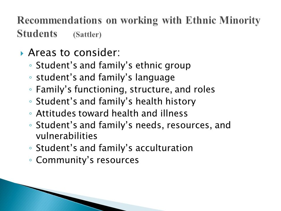Recommendations on working with Ethnic Minority Students (Sattler)