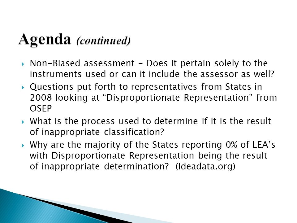 What is the State's definition or criteria for disproportionate representation Agenda (continued)
