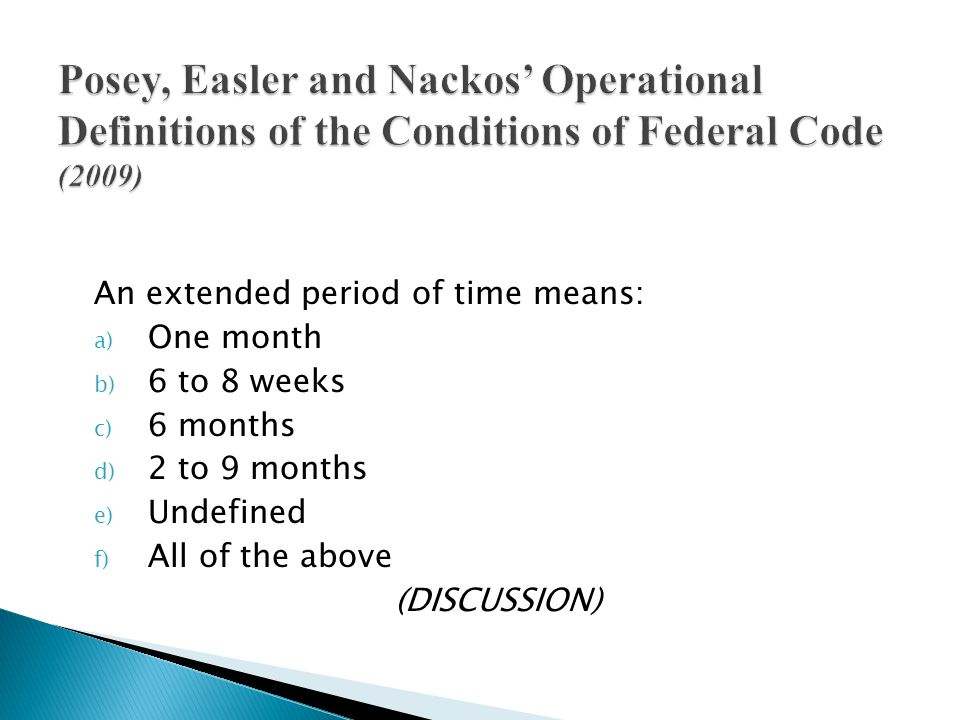 Posey, Easler and Nackos' Operational Definitions of the Conditions of Federal Code (2009)