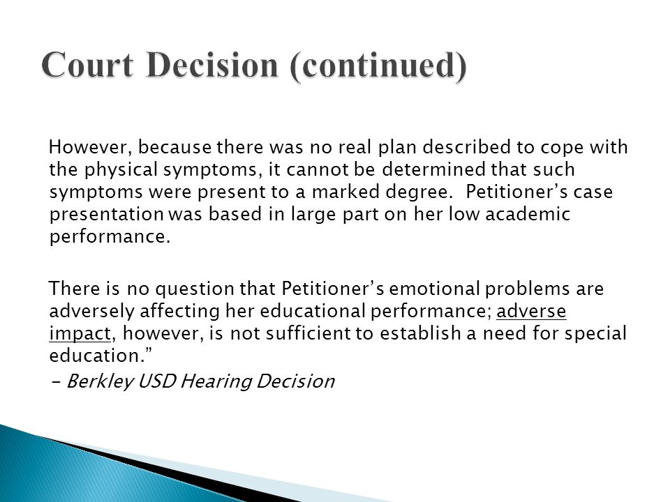 Court Decision (continued)