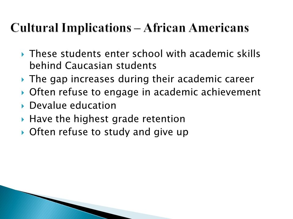 Cultural Implications – African Americans