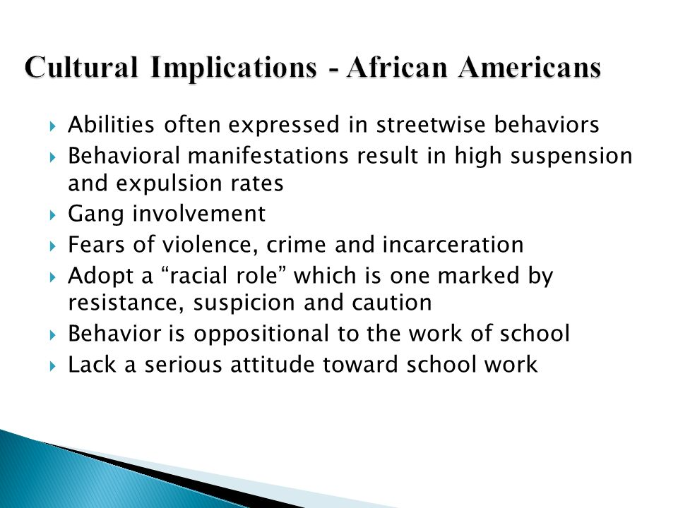 Cultural Implications - African Americans