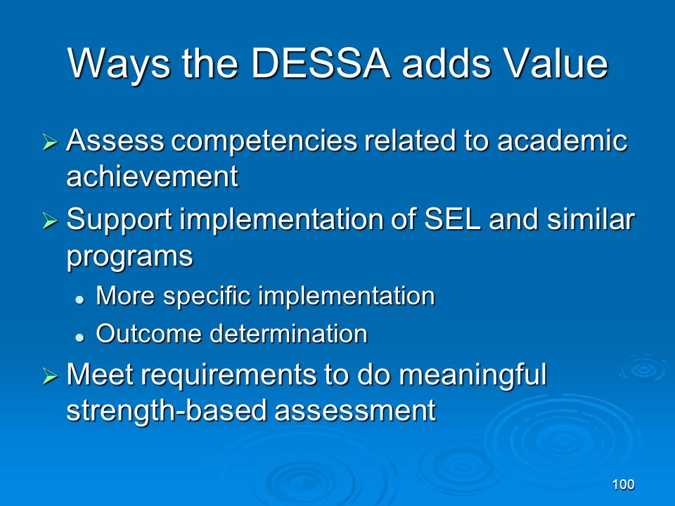 Ways the DESSA adds Value