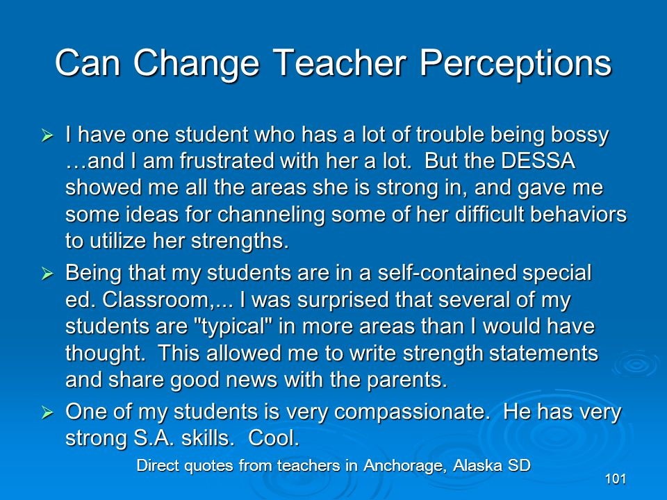 Can Change Teacher Perceptions