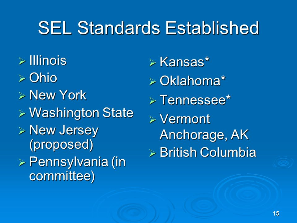 SEL Standards Established