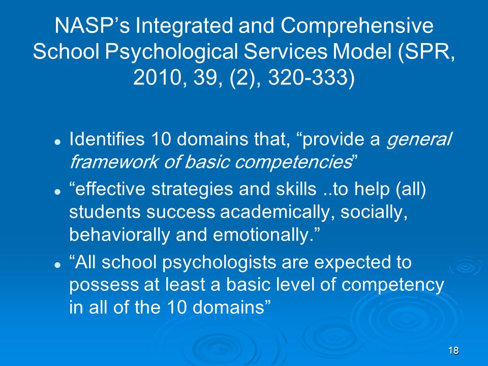 NASP's Integrated and Comprehensive School Psychological Services Model (SPR, 2010, 39, (2), 320-333)