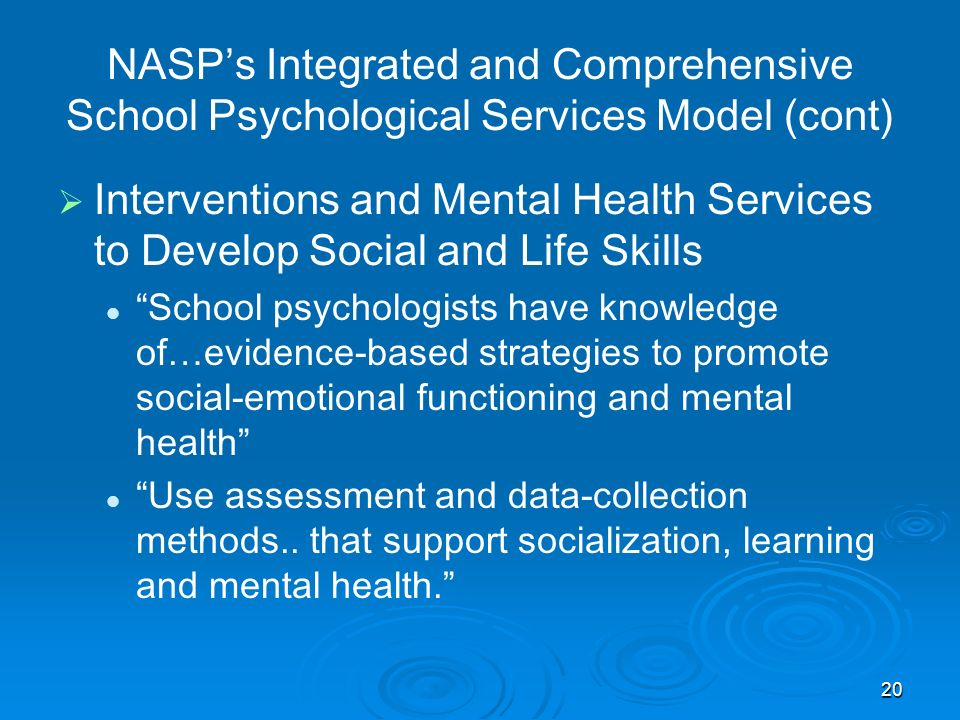 NASP's Integrated and Comprehensive School Psychological Services Model (cont)