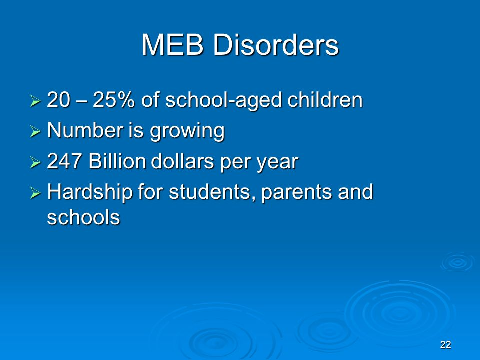 MEB Disorders 20 – 25% of school-aged children Number is growing