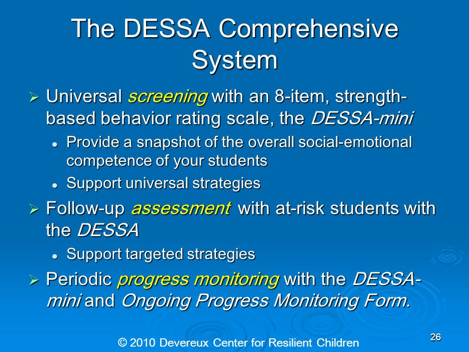 The DESSA Comprehensive System