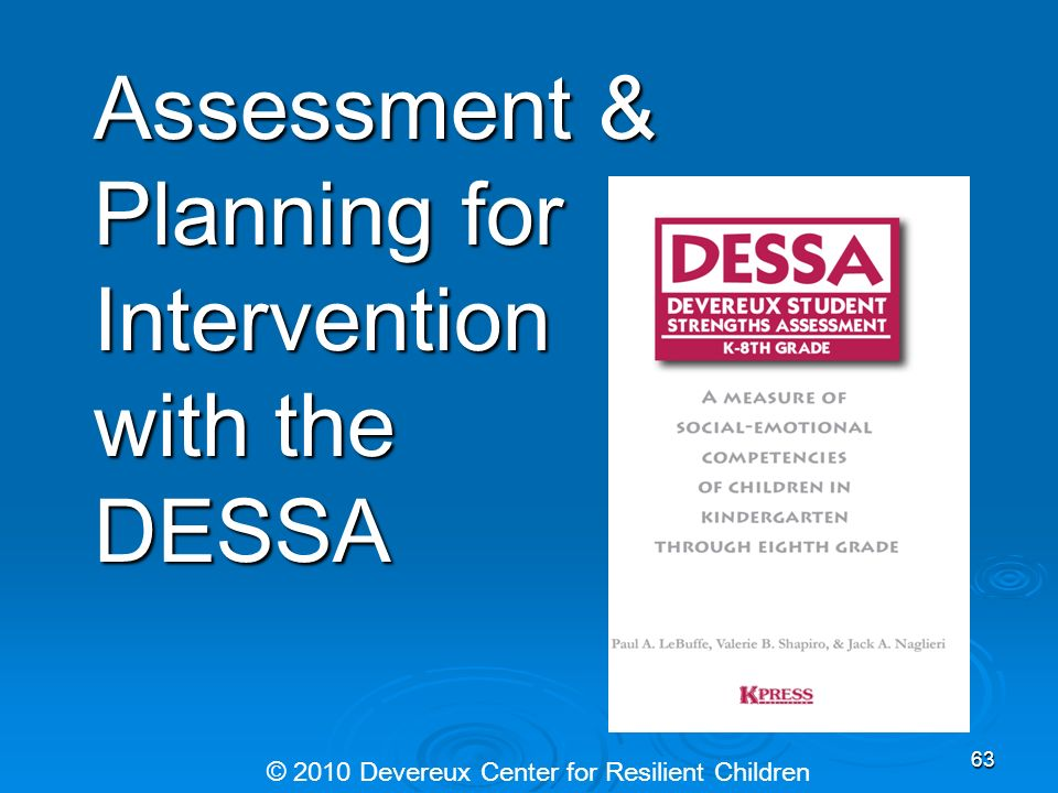 Assessment & Planning for Intervention with the DESSA